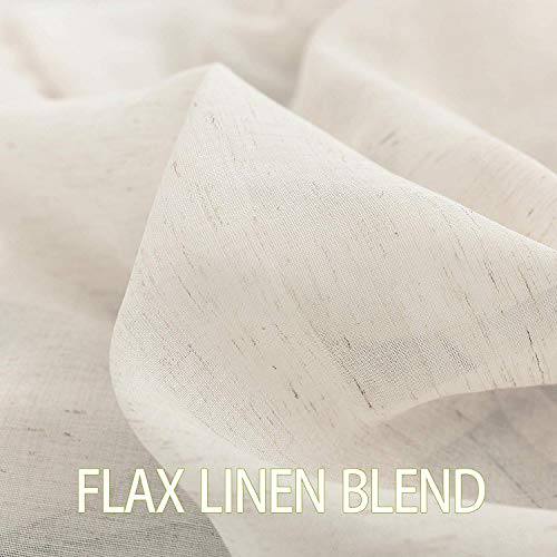 Fmfunctex Flax Linen Sheer Curtains 84 Inch Long Living Room Vintage Window Panel Drapes For Farmhouse Bedroom Rod Pocket Natural 52 Wide 2 Panels 0 2