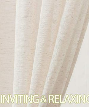 Fmfunctex Flax Linen Sheer Curtains 84 Inch Long Living Room Vintage Window Panel Drapes For Farmhouse Bedroom Rod Pocket Natural 52 Wide 2 Panels 0 3 300x360