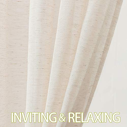 Fmfunctex Flax Linen Sheer Curtains 84 Inch Long Living Room Vintage Window Panel Drapes For Farmhouse Bedroom Rod Pocket Natural 52 Wide 2 Panels 0 3