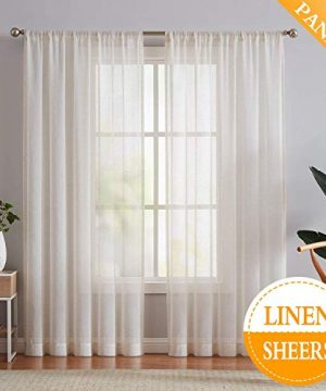 Fmfunctex Flax Linen Sheer Curtains 84 Inch Long Living Room Vintage Window Panel Drapes For Farmhouse Bedroom Rod Pocket Natural 52 Wide 2 Panels 0 300x360