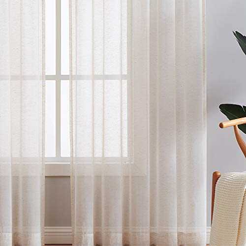 Fmfunctex Flax Linen Sheer Curtains 84 Inch Long Living Room Vintage Window Panel Drapes For Farmhouse Bedroom Rod Pocket Natural 52 Wide 2 Panels 0 4