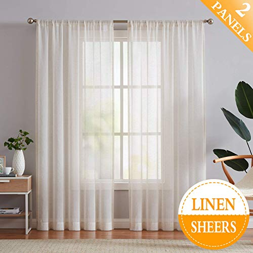 Fmfunctex Flax Linen Sheer Curtains 84 Inch Long Living Room Vintage Window Panel Drapes For Farmhouse Bedroom Rod Pocket Natural 52 Wide 2 Panels 0