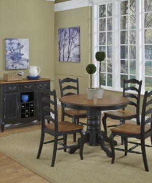 French Countryside BlackOak 42 Round Pedestal Dining Table With 4 Chairs By Home Styles 0 0 300x360