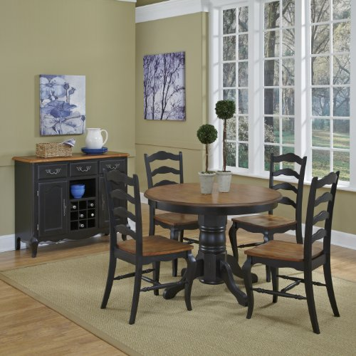 French Countryside BlackOak 42 Round Pedestal Dining Table With 4 Chairs By Home Styles 0 0
