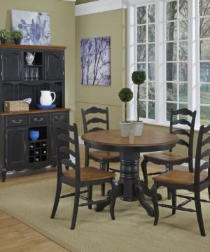 French Countryside BlackOak 42 Round Pedestal Dining Table With 4 Chairs By Home Styles 0 1 300x360