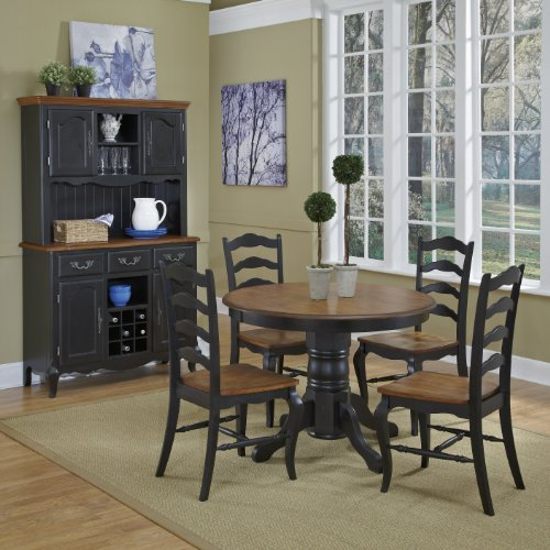 French Countryside BlackOak 42 Round Pedestal Dining Table With 4 Chairs By Home Styles 0 1