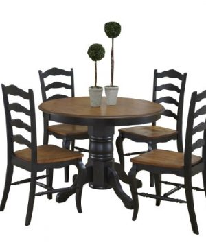 French Countryside BlackOak 42 Round Pedestal Dining Table With 4 Chairs By Home Styles 0 300x360