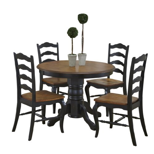 French Countryside BlackOak 42 Round Pedestal Dining Table With 4 Chairs By Home Styles 0