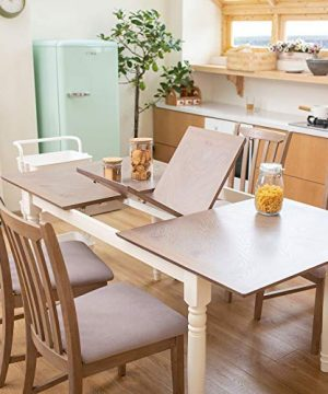 Furgle Rectangular Extending Dining Table Large Oak Rubber Wood Kitchen Table With Folding Separate Extension Leaf For Kitchen Dining Room Living Room Smoky Grey Cashew 0 0 300x360