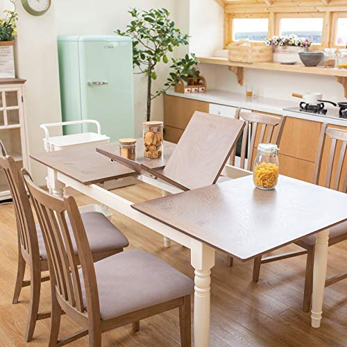 Furgle Rectangular Extending Dining Table Large Oak Rubber Wood Kitchen Table With Folding Separate Extension Leaf For Kitchen Dining Room Living Room Smoky Grey Cashew 0 0