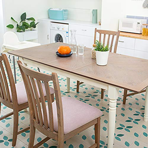 Furgle Rectangular Extending Dining Table Large Oak Rubber Wood Kitchen Table With Folding Separate Extension Leaf For Kitchen Dining Room Living Room Smoky Grey Cashew 0 1