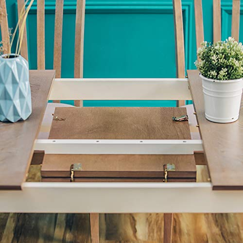Furgle Rectangular Extending Dining Table Large Oak Rubber Wood Kitchen Table With Folding Separate Extension Leaf For Kitchen Dining Room Living Room Smoky Grey Cashew 0 2