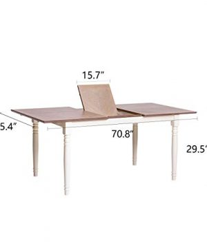 Furgle Rectangular Extending Dining Table Large Oak Rubber Wood Kitchen Table With Folding Separate Extension Leaf For Kitchen Dining Room Living Room Smoky Grey Cashew 0 5 300x360