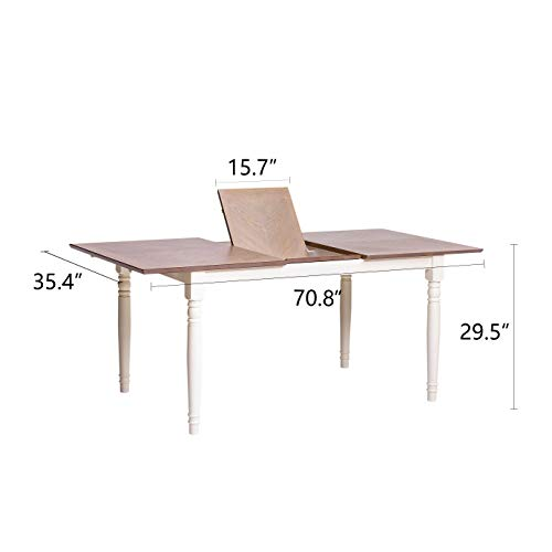 Furgle Rectangular Extending Dining Table Large Oak Rubber Wood Kitchen Table With Folding Separate Extension Leaf For Kitchen Dining Room Living Room Smoky Grey Cashew 0 5