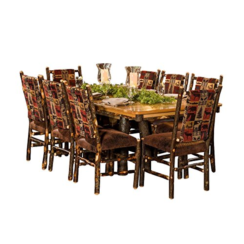 Furniture Barn USA Hickory Tressle Table Dining Set With 8 Fabric Back Dining Chairs R Bradley Fabric 0