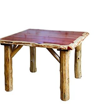 Furniture Barn USA Rustic Red Cedar Log Traditional Square Dining Table And 4 Chair Set 0 300x333