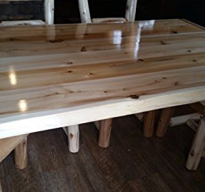 Furniture Barn USA Rustic White Cedar Log Dining Table 6 Chairs Set 0 1 300x281