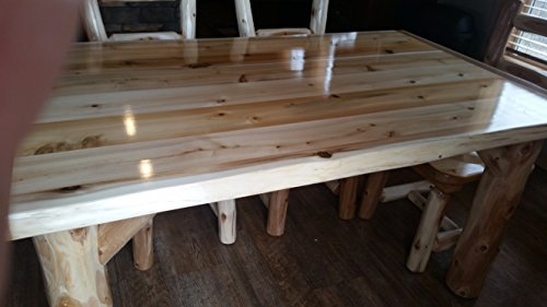 Furniture Barn USA Rustic White Cedar Log Dining Table 6 Chairs Set 0 1