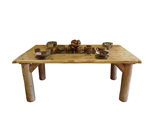 Furniture Barn USA Rustic White Cedar Log Dining Table 6 Chairs Set 0 2
