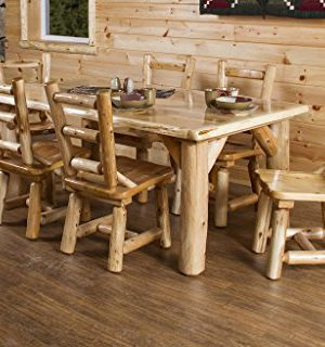 Furniture Barn USA Rustic White Cedar Log Dining Table 6 Chairs Set 0 300x320