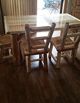 Furniture Barn USA Rustic White Cedar Log Dining Table 6 Chairs Set 0 4 281x360