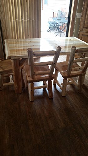Furniture Barn USA Rustic White Cedar Log Dining Table 6 Chairs Set 0 4
