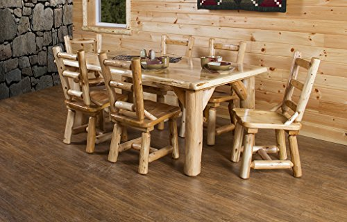 Furniture Barn USA Rustic White Cedar Log Dining Table 6 Chairs Set 0