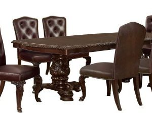Furniture Of America Evangelyn 7 Piece Dining Set With Leather Like Chairs Cherry 0 300x232