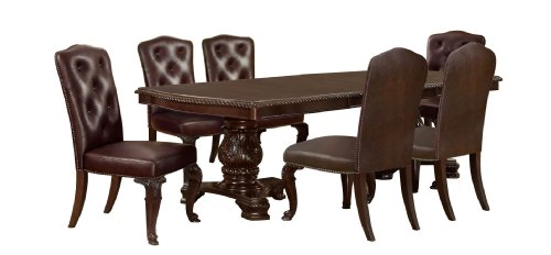 Furniture Of America Evangelyn 7 Piece Dining Set With Leather Like Chairs Cherry 0