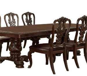 Furniture Of America Evangelyn 7 Piece Dining Set With Wooden Chairs Cherry 0 300x263