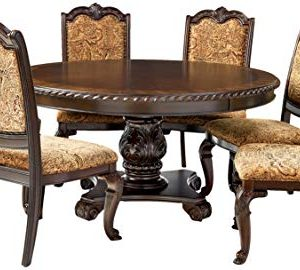 Furniture Of America Ferrara 7 Piece Elegant Round Dining Table Set Brown Cherry 0 300x270