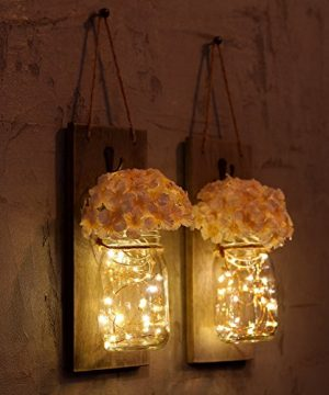 GBtroo Rustic Wall Sconces Mason Jars Sconce Rustic Home DecorWrought Iron Hooks Silk Hydrangea And LED Strip Lights Design 6 Hour Timer Home Decoration Set Of 2 0 0 300x360