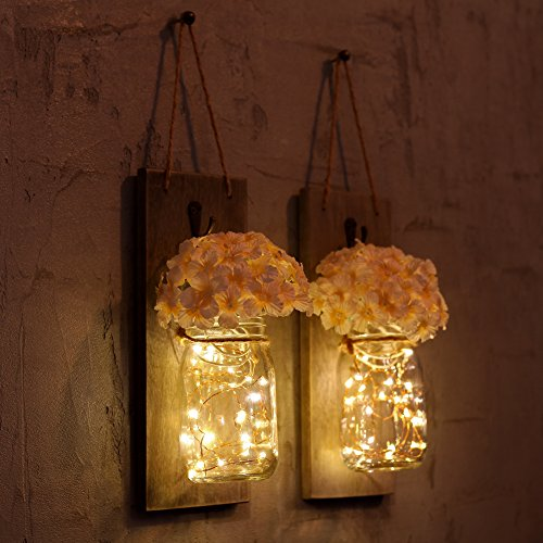 GBtroo Rustic Wall Sconces Mason Jars Sconce Rustic Home DecorWrought Iron Hooks Silk Hydrangea And LED Strip Lights Design 6 Hour Timer Home Decoration Set Of 2 0 0
