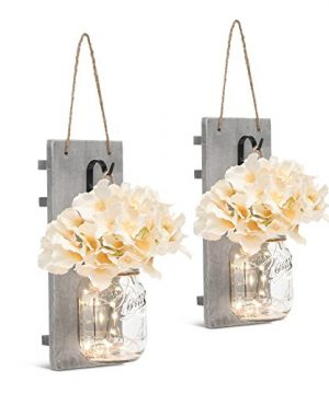 GBtroo Rustic Wall Sconces Mason Jars Sconce Rustic Home DecorWrought Iron Hooks Silk Hydrangea And LED Strip Lights Design 6 Hour Timer Home Decoration Set Of 2 0 1 300x360