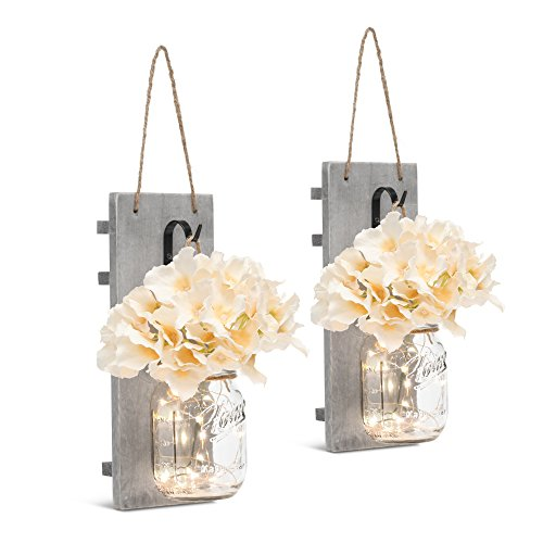 GBtroo Rustic Wall Sconces Mason Jars Sconce Rustic Home DecorWrought Iron Hooks Silk Hydrangea And LED Strip Lights Design 6 Hour Timer Home Decoration Set Of 2 0 1