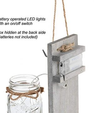 GBtroo Rustic Wall Sconces Mason Jars Sconce Rustic Home DecorWrought Iron Hooks Silk Hydrangea And LED Strip Lights Design 6 Hour Timer Home Decoration Set Of 2 0 3 300x360