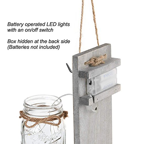 GBtroo Rustic Wall Sconces Mason Jars Sconce Rustic Home DecorWrought Iron Hooks Silk Hydrangea And LED Strip Lights Design 6 Hour Timer Home Decoration Set Of 2 0 3
