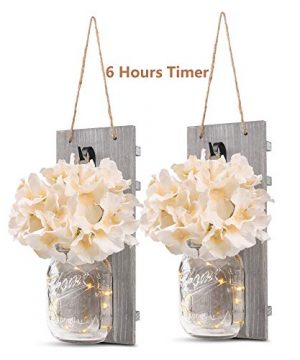 GBtroo Rustic Wall Sconces Mason Jars Sconce Rustic Home DecorWrought Iron Hooks Silk Hydrangea And LED Strip Lights Design 6 Hour Timer Home Decoration Set Of 2 0 300x360