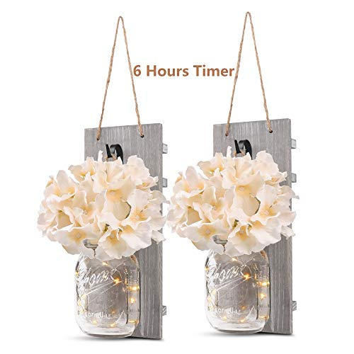 GBtroo Rustic Wall Sconces Mason Jars Sconce Rustic Home DecorWrought Iron Hooks Silk Hydrangea And LED Strip Lights Design 6 Hour Timer Home Decoration Set Of 2 0