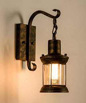 GLADFRESIT Vintage Wall Light Oil Rubbed Bronze Glass Shade Industrial Wall Sconce Plug In Lighting Fixture With 66FT Cord For Indoor Home Dcor Headboard Rustic Retro Style 0 0 300x360