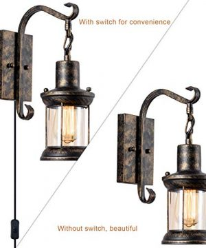GLADFRESIT Vintage Wall Light Oil Rubbed Bronze Glass Shade Industrial Wall Sconce Plug In Lighting Fixture With 66FT Cord For Indoor Home Dcor Headboard Rustic Retro Style 0 1 300x360
