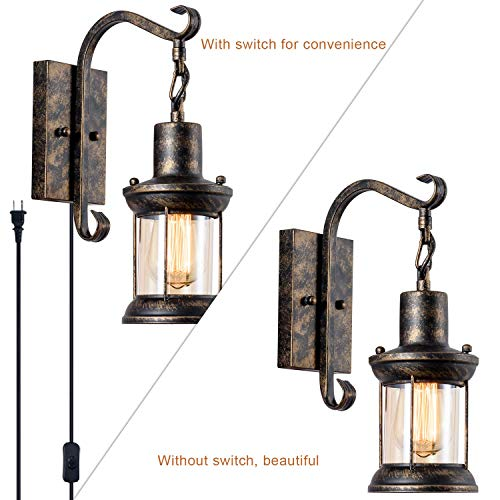 GLADFRESIT Vintage Wall Light Oil Rubbed Bronze Glass Shade Industrial Wall Sconce Plug In Lighting Fixture With 66FT Cord For Indoor Home Dcor Headboard Rustic Retro Style 0 1