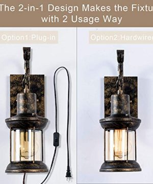 GLADFRESIT Vintage Wall Light Oil Rubbed Bronze Glass Shade Industrial Wall Sconce Plug In Lighting Fixture With 66FT Cord For Indoor Home Dcor Headboard Rustic Retro Style 0 2 300x360