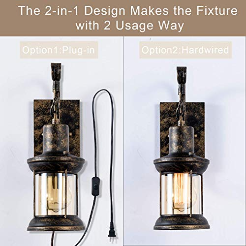 GLADFRESIT Vintage Wall Light Oil Rubbed Bronze Glass Shade Industrial Wall Sconce Plug In Lighting Fixture With 66FT Cord For Indoor Home Dcor Headboard Rustic Retro Style 0 2
