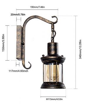 GLADFRESIT Vintage Wall Light Oil Rubbed Bronze Glass Shade Industrial Wall Sconce Plug In Lighting Fixture With 66FT Cord For Indoor Home Dcor Headboard Rustic Retro Style 0 3 300x360