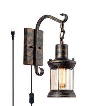 GLADFRESIT Vintage Wall Light Oil Rubbed Bronze Glass Shade Industrial Wall Sconce Plug In Lighting Fixture With 66FT Cord For Indoor Home Dcor Headboard Rustic Retro Style 0 300x360