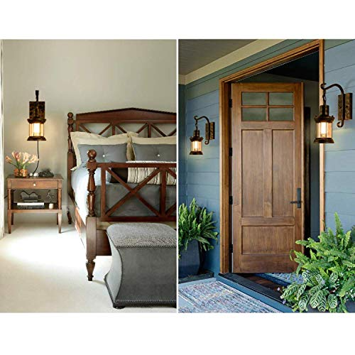 GLADFRESIT Vintage Wall Light Oil Rubbed Bronze Glass Shade Industrial Wall Sconce Plug In Lighting Fixture With 66FT Cord For Indoor Home Dcor Headboard Rustic Retro Style 0 5