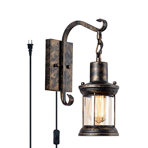 GLADFRESIT Vintage Wall Light Oil Rubbed Bronze Glass Shade Industrial Wall Sconce Plug In Lighting Fixture With 66FT Cord For Indoor Home Dcor Headboard Rustic Retro Style 0