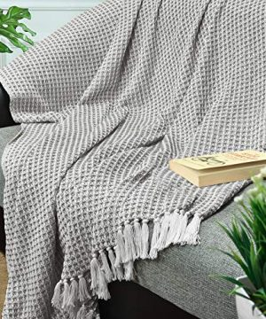 GLAMBURG 100 Cotton Throw Blanket For Couch Sofa Bed Beach Outdoor 50x60 Cotton Throws Blanket For Adults And Kids All Season Waffle Weave Farmhouse Throw Blanket Charcoal Grey 0 0 300x360