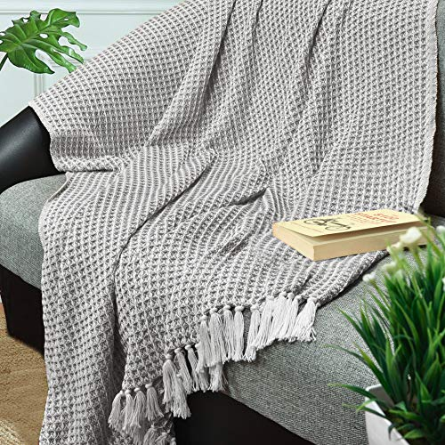 GLAMBURG 100 Cotton Throw Blanket For Couch Sofa Bed Beach Outdoor 50x60 Cotton Throws Blanket For Adults And Kids All Season Waffle Weave Farmhouse Throw Blanket Charcoal Grey 0 0